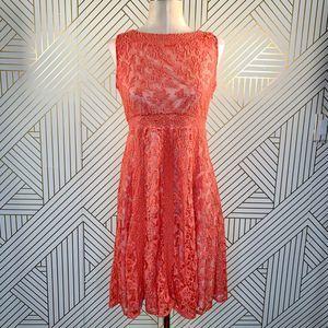 Sundance Emma Lace Coral Fit & Flare Dress